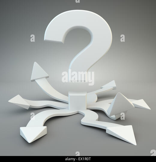 Question mark with many options - Stock Image