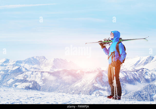 winter holidays, skiing off piste in the mountains, beautiful background - Stock-Bilder