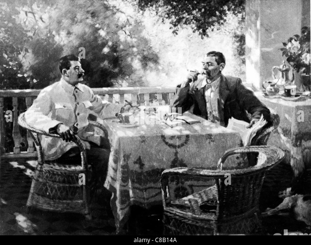 Joseph Stalin and Gorky in a painting by Guerrassimov - Stock-Bilder