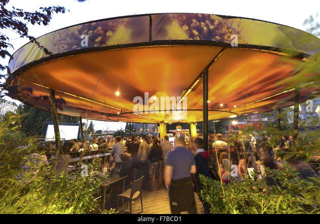 Vienna, Danube Channel, Beach Bar Hermann, Public Viewing, Austria - Stock Image