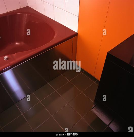 White Bathroom Orange Floor : Modern floor tiles close stock photos
