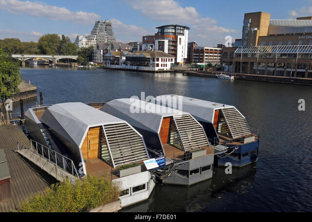 Houseboats Kingston upon Thames, London, England,UK Two bedroom - Stock Image