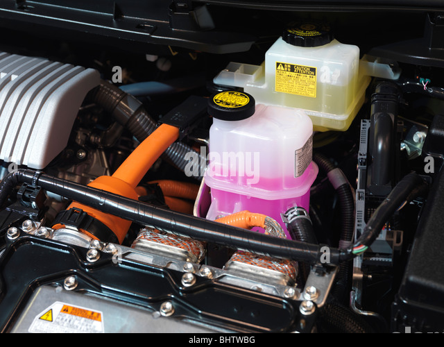 2010 Toyota Prius hybrid engine brake fluid and inverter coolant - Stock Image