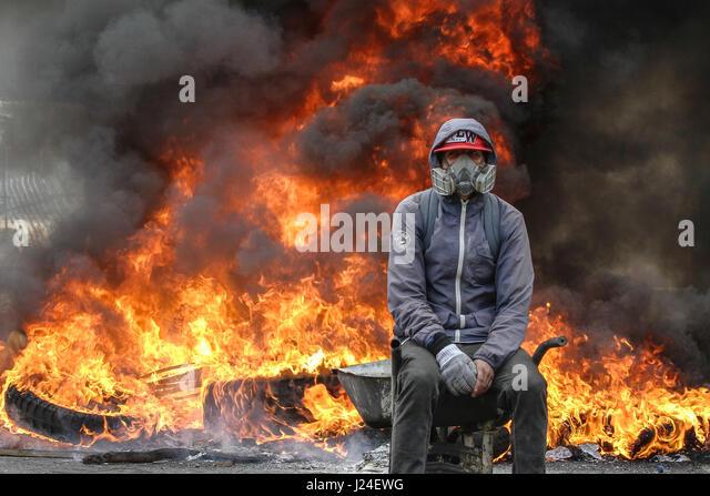 Caracas, Venezuela. 24th Apr, 2017. A demonstrator takes part in a protest in Caracas, Venezuela, on April 24, 2017. - Stock-Bilder