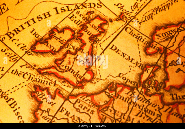 Old map of Britain British Isles UK United Kngdom and Northern Europe. Map is from 1786 and is out of copyright. - Stock-Bilder