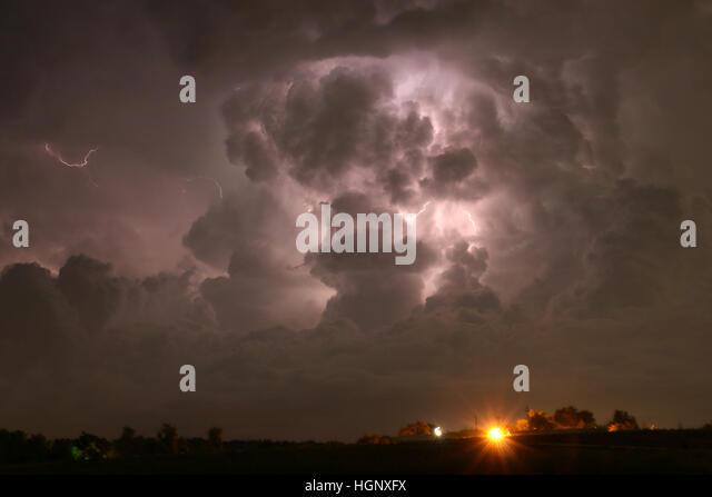 Lightning in thunder storm Colorado - Stock Image