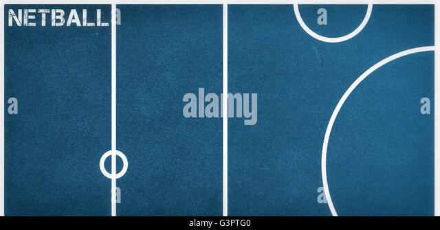 Composite image of netball message on a white background - Stock Image