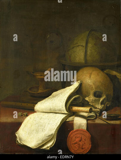 Vanitas still life, Pieter Symonsz. Potter, 1646 - Stock Image