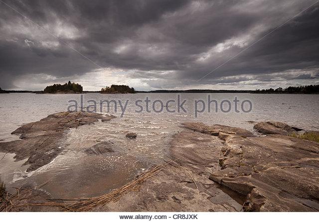 Landscape from the south side of the island Østenrødøya in the lake Vansjø, Østfold fylke, - Stock-Bilder