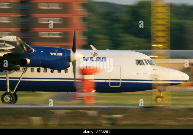 Close up of VLM Airlines Fokker 50 - Stock Image