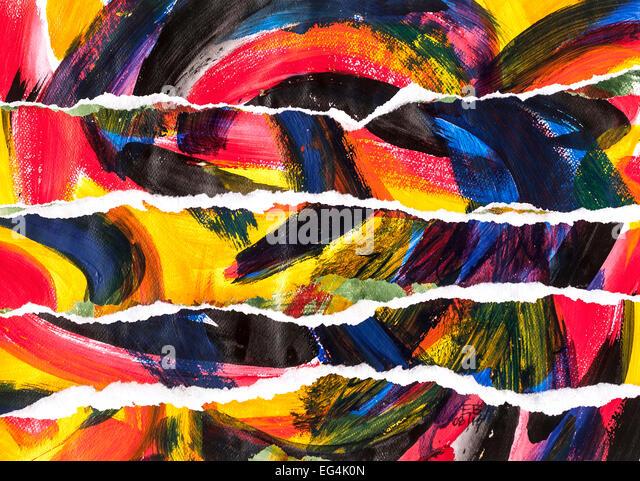 "Acrylic painting collage of ""Waves"" by Ed Buziak - France. - Stock Image"