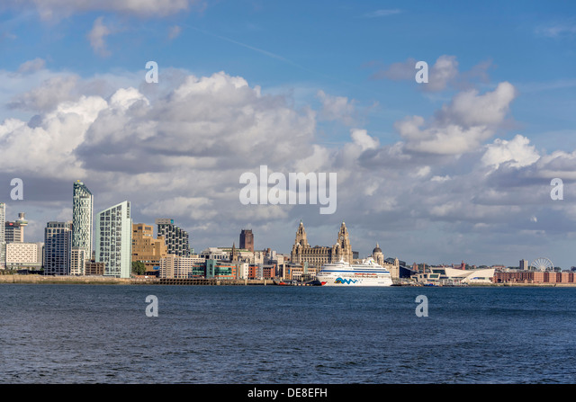 Cruise liner AIDAcara. Berthed at the Liverpool waterfront. A world heritage site. - Stock Image