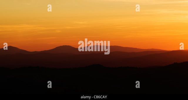 Tuscany - Sunset - Pienza - Stock Image