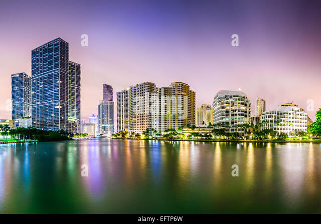 Miami, Florida city skyline. - Stock Image