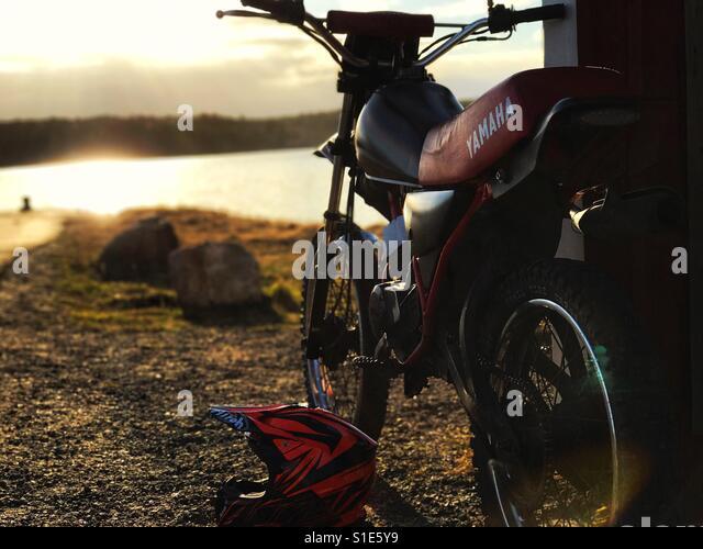Motorcycle in a beautiful sunlight - Stock-Bilder
