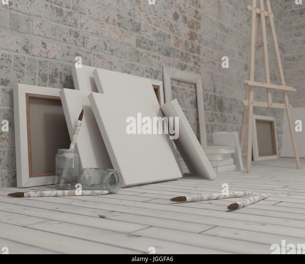 3D Render of an Artist Studio - Stock Image