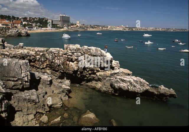 Portugal Cascais Bay Atlantic Coast rocky shore - Stock Image