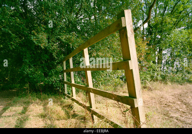 Derelict wooden fence beside Cambridgeshire wood - Stock Image