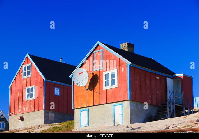 Village of Ittoqqortoormiit, Scoresbysund, east coast Greenland - Stock Image