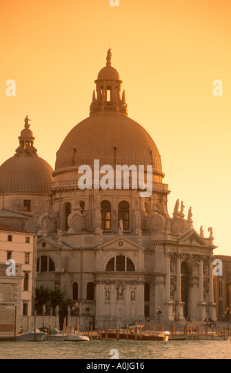 Italy Venice Santa Maria della Salute church sunset - Stock Image
