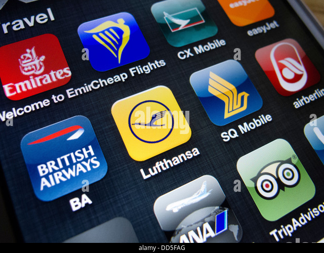Detail of many travel and airline apps on an iPhone 5 smart phone - Stock-Bilder