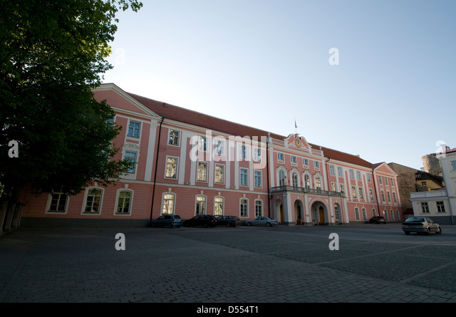 Estonian Parliament on Lossi plats in Tallinn Old Town,Tallinn, Estonia, Baltic States - Stock Image