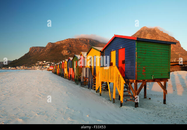 beach huts at Muizenberg, Western Cape, South Africa - Stock Image