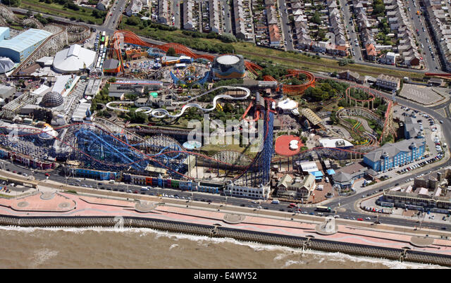 aerial view of Blackpool's Pleasure Beach - Stock Image