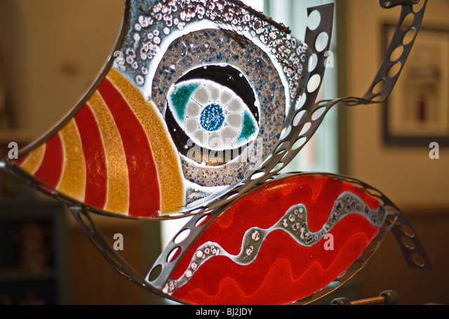 Fantastic fused glass is the specialty of Earthly Greens & Ran La Roca Glass, Gallery and Studio, in Lincoln, - Stock Image