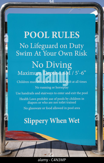 Pool rules stock photos pool rules stock images alamy New mexico swimming pool regulations