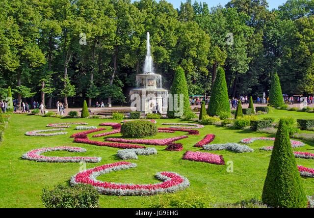Peterhof Palace Lower Garden Fountain near Saint Petersburg, Russia - Stock Image
