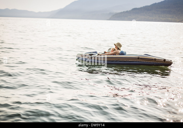Canoeing, Sand Point, Idaho, US - Stock Image