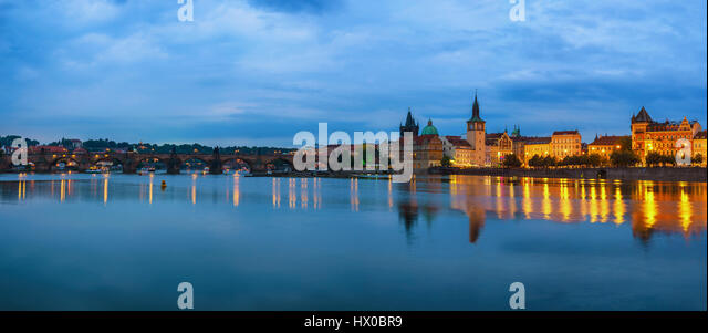 Prague city skyline panorama and Charles Bridge, Prague, Czech Republic - Stock Image