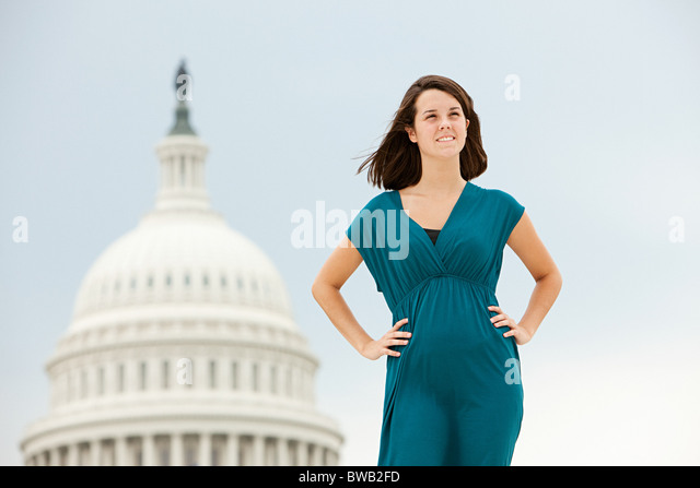 Girl by united states capitol building - Stock Image