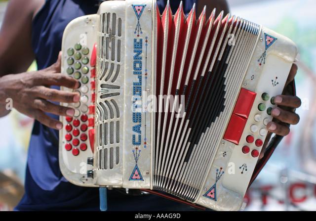 Florida, Zydeco Festival, Cajun music, accordion, bellows, - Stock Image