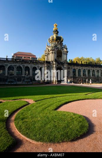 DEU Dresden Saxony Zwinger courtyard park - Stock Image