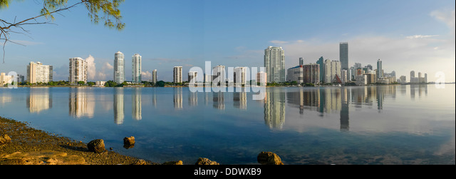 Brickell Ave. Buildings seen from Rickenbacker Causeway. Biscayne Bay. Miami. Florida. USA - Stock Image