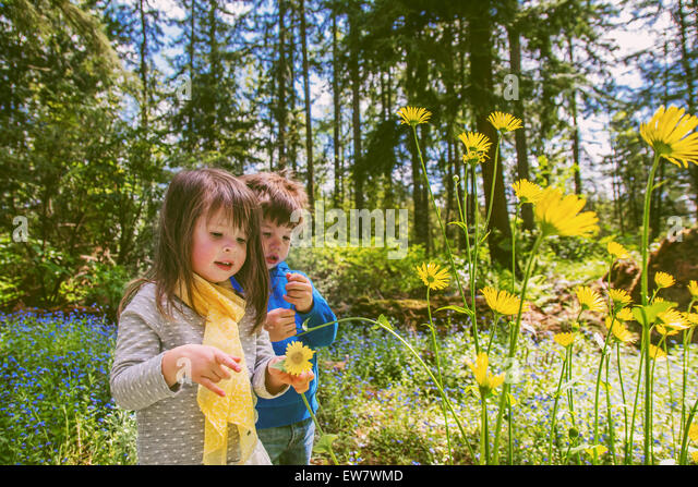 Boy and girl picking flowers in countryside - Stock Image