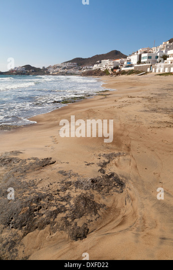 The beach at San Jose, Cabo de Gata Nijar Natural Park, Almeria, Andalusia, Spain Europe - Stock Image