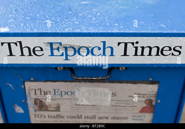 A The Epoch Times newspaper box is seen in Ottawa - Stock-Bilder