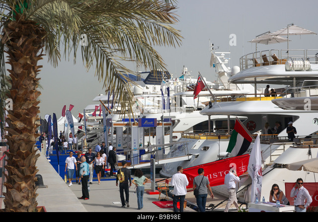 Yachts for sale at Abu Dhabi Yacht Show - Stock Image