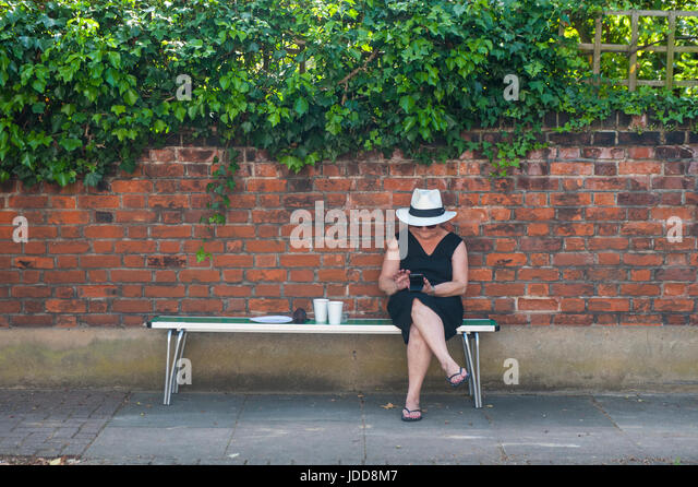 An elegant lady sends a text in the summer sun - Stock Image