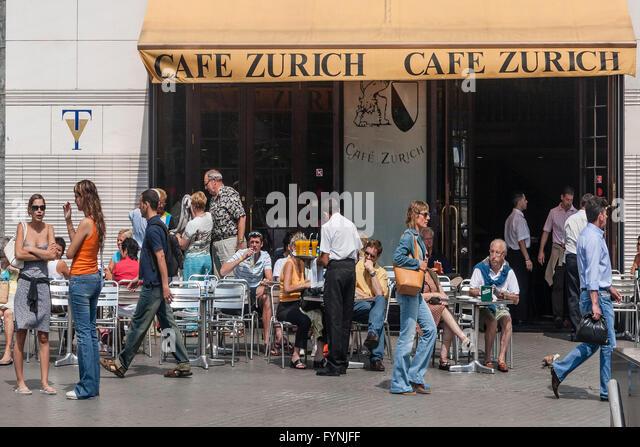 Cafe Zurich, steet cafe, Palza de Catalunya, Barcelona - Stock Image