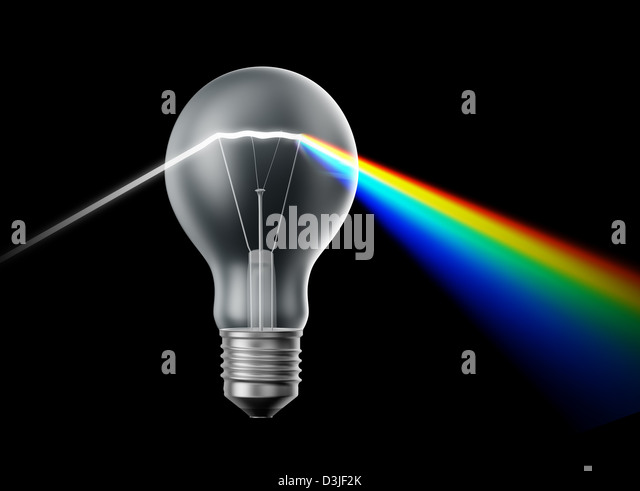 Creativity and innovation concept - bulb acting as a prism - Stock-Bilder