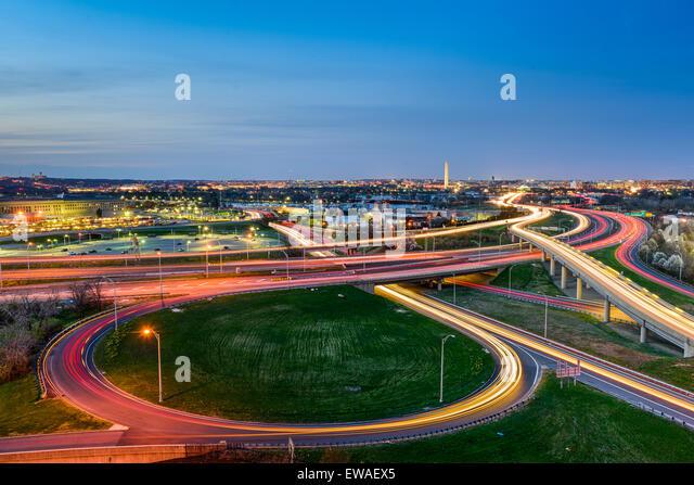Washington, D.C. skyline with highways and monuments. - Stock Image