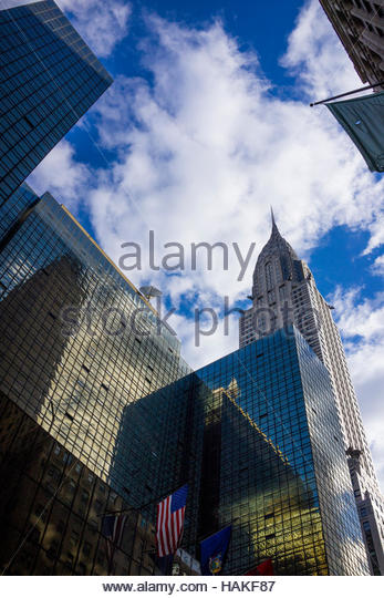 Looking up at Buildings in New York City, New York, USA - Stock Image
