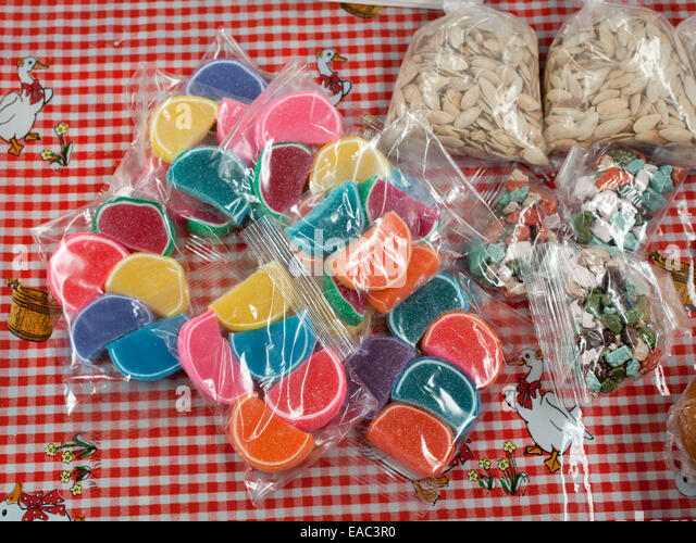 Colorful Candy at Mexican Market - Stock Image