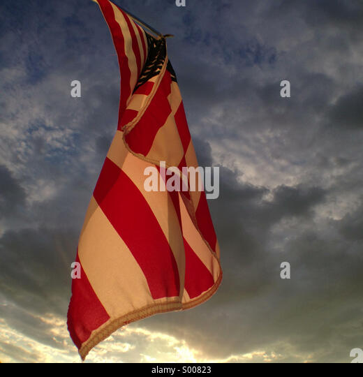 American flag at sunset - Stock Image