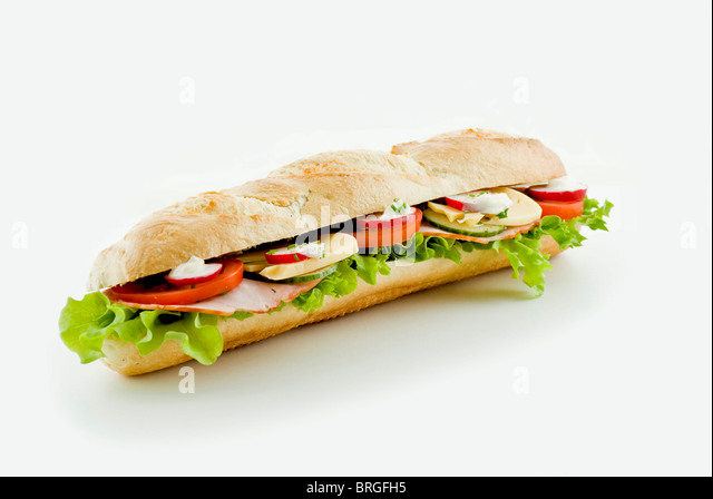 Fresh vegetable and ham sandwich - isolated - Stock Image