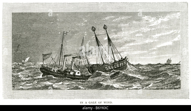 gale wind steam Water trade transport sail coast sailing bay boat rowing ocean wave storm sea ship - Stock Image
